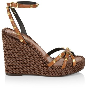 Valentino Garavani Rockstud Torchon Leather Espadrille Wedge Sandals