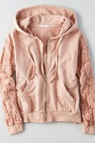 American Eagle Outfitters Don't Ask Why Lace Sleeve Hoodie