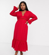 Asos DESIGN Curve plunge broderie maxi dress with pephem and fluted sleeves