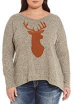 Moa Moa Plus Faux Suede Deer Head Sweater