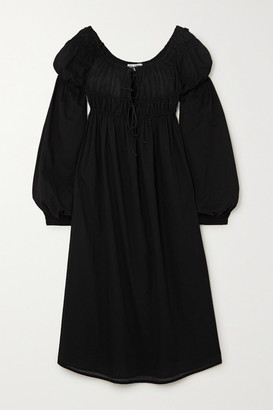 ÀCHEVAL PAMPA Antonia Gathered Cotton-voile Midi Dress - Black