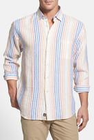 Robert Talbott 'Anderson' Trim Fit Stripe Linen Sport Shirt