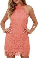 YACUN Women's Halter Sleeveless Lace Elegant Wedding Party Dress L