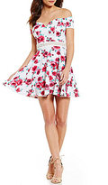 B. Darlin Off-The-Shoulder Floral-Print Fit-and-Flare Dress