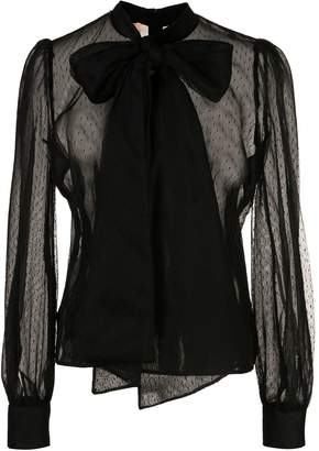 Brock Collection sheer tie-fastening blouse