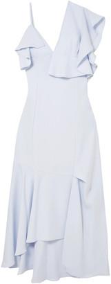 ADEAM Asymmetric Ruffled Crepe Midi Dress