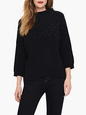 Phase Eight Bessy Beaded Chunky Knit Jumper, Navy