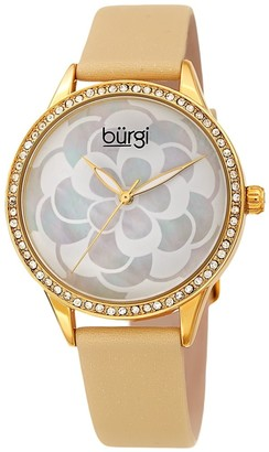 Burgi Ladies Swarovski Crystal Mother of Pearl Floral Cream Leather Strap Watch