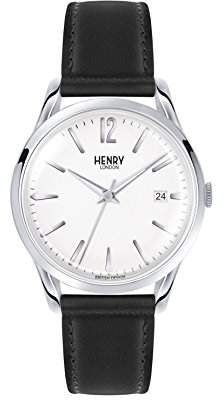 Henry London Unisex Edgware Quartz Watch with White Dial Analogue Display and Black Leather Strap