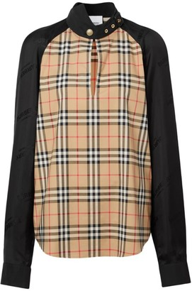 Burberry Ottie Check Print Stand Collar Blouse