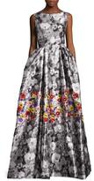 Oscar de la Renta Silk Threadwork Printed Gown