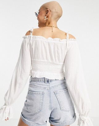 Pimkie shirred milkmaid long sleeve top with tie detail in white