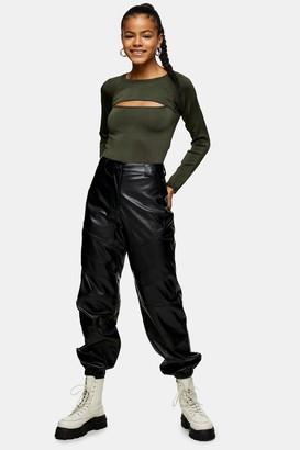 Topshop Womens Black Panelled Pu Joggers - Black