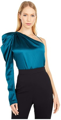 Cushnie One Shoulder Fitted Top with Draped Sleeve (Dark Teal) Women's Clothing