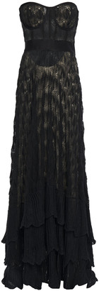 Missoni Strapless Tiered Crocheted Linen And Cotton-blend Maxi Dress