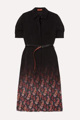 Altuzarra Kieran Belted Printed Silk Crepe De Chine Dress - Black