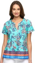 Caribbean Joe Women's Paisley Pintuck Shirt