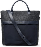 Want Les Essentiels - O'hare Ii Leather-trimmed Mélange Flannel And Canvas Tote Bag