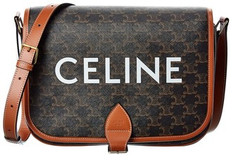 Celine Messenger Folco Canvas & Leather Shoulder Bag