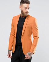 Asos Super Skinny Fashion Blazer In Orange