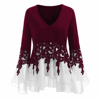 Aiserkly Women V-Neck Applique Flowy Chiffon Shirts Casual Long Sleeve T-Shirt Plus Size Tops Long Sleeve Blouse Wine S