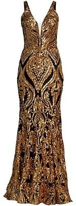 Jovani Patterned Metallic Gown