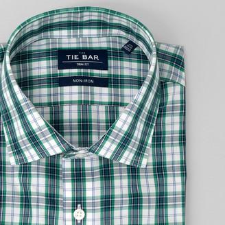 Tie Bar Dress Plaid Green Non-Iron Dress Shirt