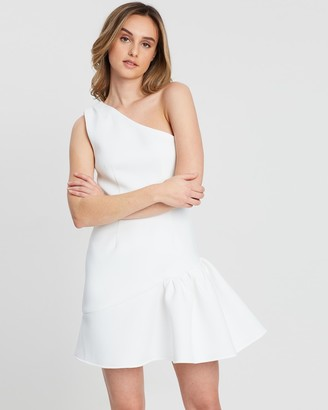 FRIEND of AUDREY - Women's White Mini Dresses - Madison One Shoulder Dress - Size One Size, 6 at The Iconic