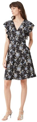 Rebecca Taylor Sleeveless Paisley Dress (Black Combo) Women's Clothing