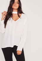 Missguided Plus Size Choker Blouse White