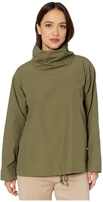 Eileen Fisher Petite Light Organic Cotton Nylon Drape Neck Pullover (Olive) Women's Clothing
