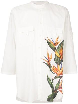 Dolce & Gabbana Mandarin Collar Shirt With Bird Of Paradise Print