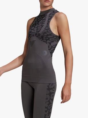 adidas by Stella McCartney Leopard Print Vest Top, Granite/Black