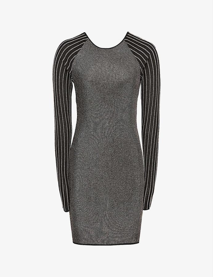 Reiss Marina striped metallic knitted mini dress