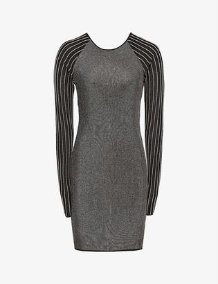 Reiss Anna one-shoulder metallic knitted mini dress