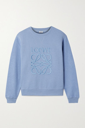 Loewe Embroidered Cotton-terry Sweatshirt - Light blue