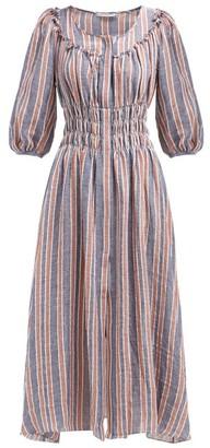 Three Graces London Arabella Striped Linen-blend Midi Dress - Womens - Navy Stripe