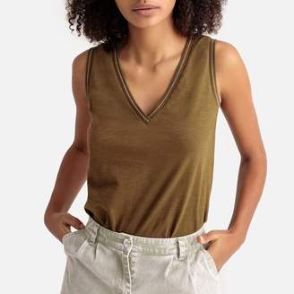 La Redoute Collections V-Neck Vest Top with Striped Trim