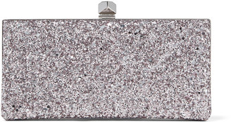 Jimmy Choo CELESTE/S Light Lilac Glitter Fabric Clutch Bag with Cube Clasp