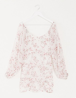 ASOS DESIGN ruched bodycon mini dress with balloon sleeves in floral print