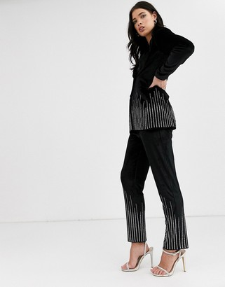 Fashion Union velvet pants coord with rhinestone scattered trim-Black