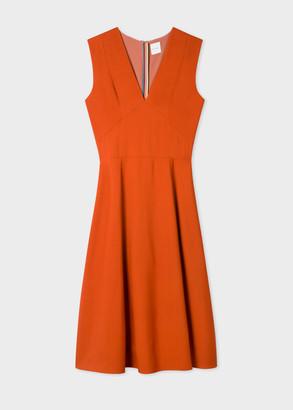 Paul Smith Women's Rust V-Neck Midi Dress