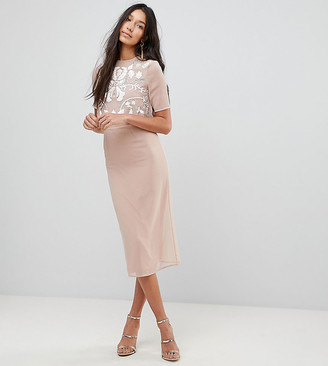 Frock And Frill Tall 2 In 1 Embellished Top Pencil Dress