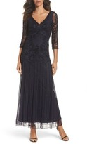 Pisarro Nights Petite Women's Embellished Mesh Drop Waist Dress