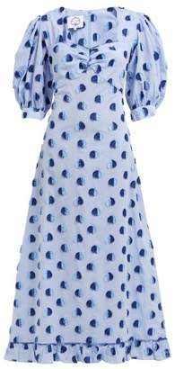 Evi Grintela Vanessa Polka-dot Cotton Fil-coupe Dress - Womens - Blue