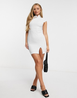 I SAW IT FIRST scuba crepe asymmetric split bodycon dress in white