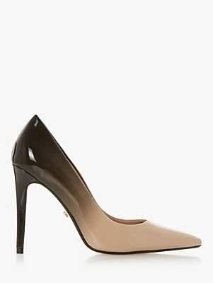 Dune Aivy Stiletto Heel Court Shoes, Black/Beige Patent