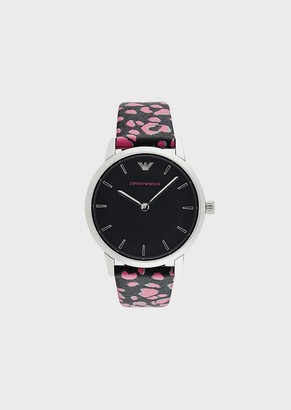 Emporio Armani Women'S Leather Two-Hand Watch