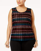 Kasper Plus Size Printed Micro-Pleated Shell