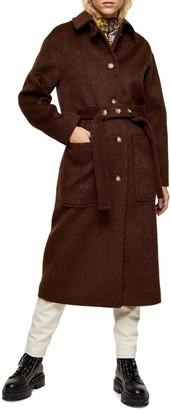 Topshop Kia Brushed Wool Coat